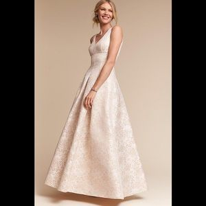 Anthropologie Formal Dress, metallic brocade